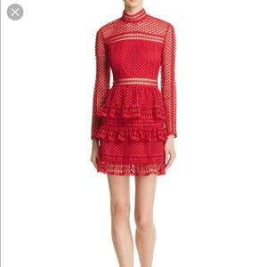 4e573a8033e6 Aqua Dresses | Red Lace Dress Nwt Self Portrait Style | Poshmark